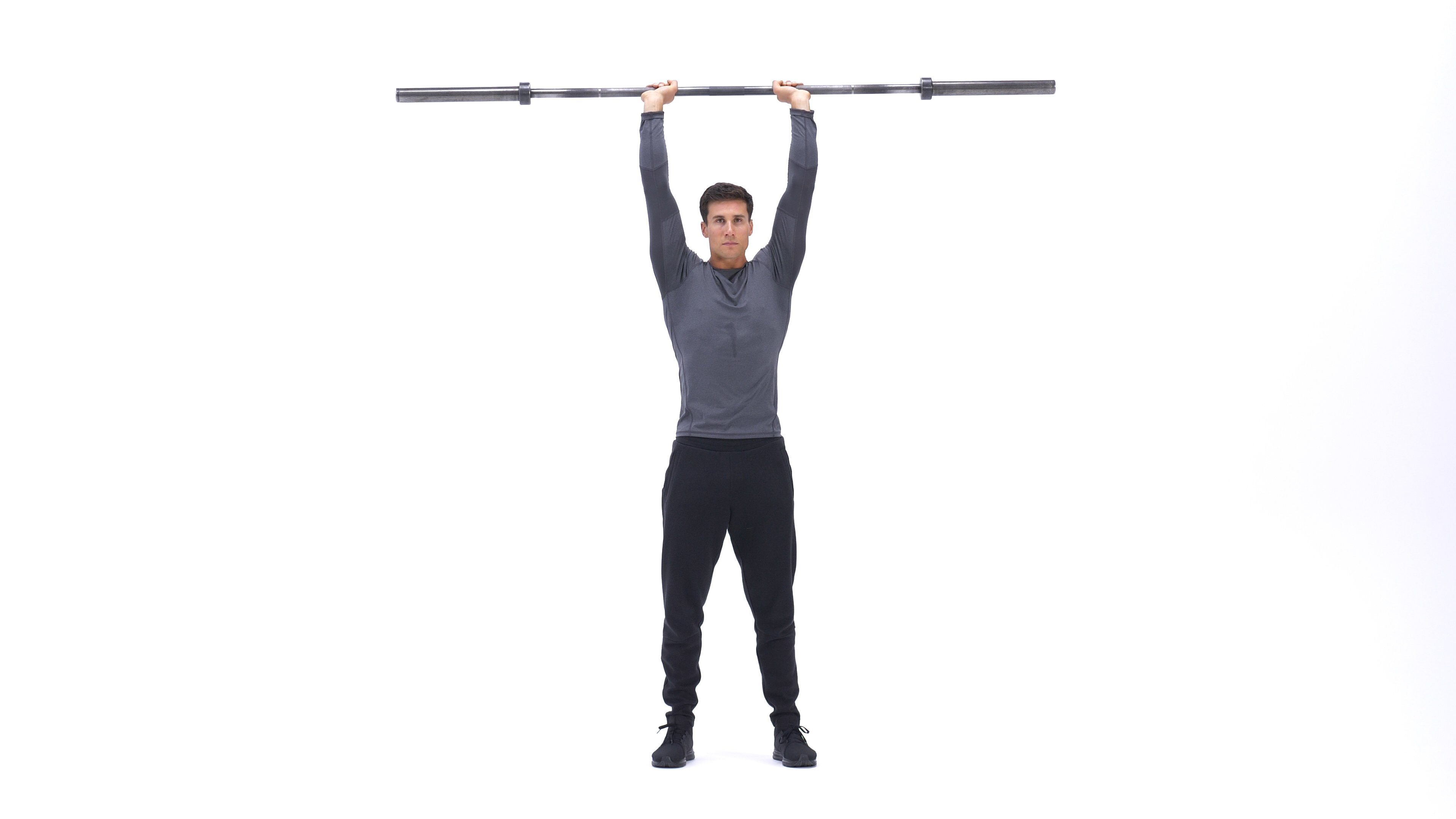 Standing barbell overhead triceps extension image