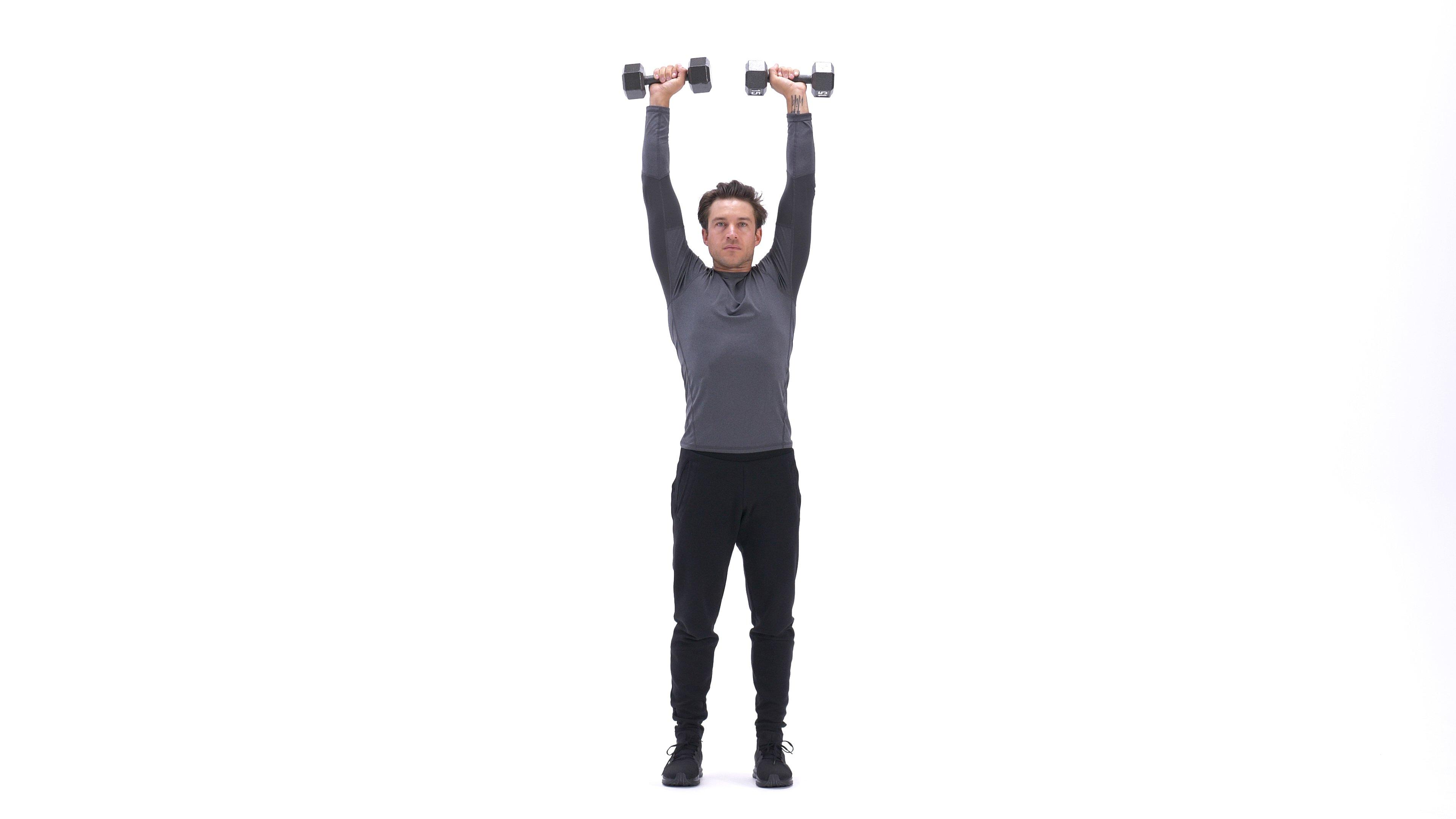 Biceps curl to shoulder press image
