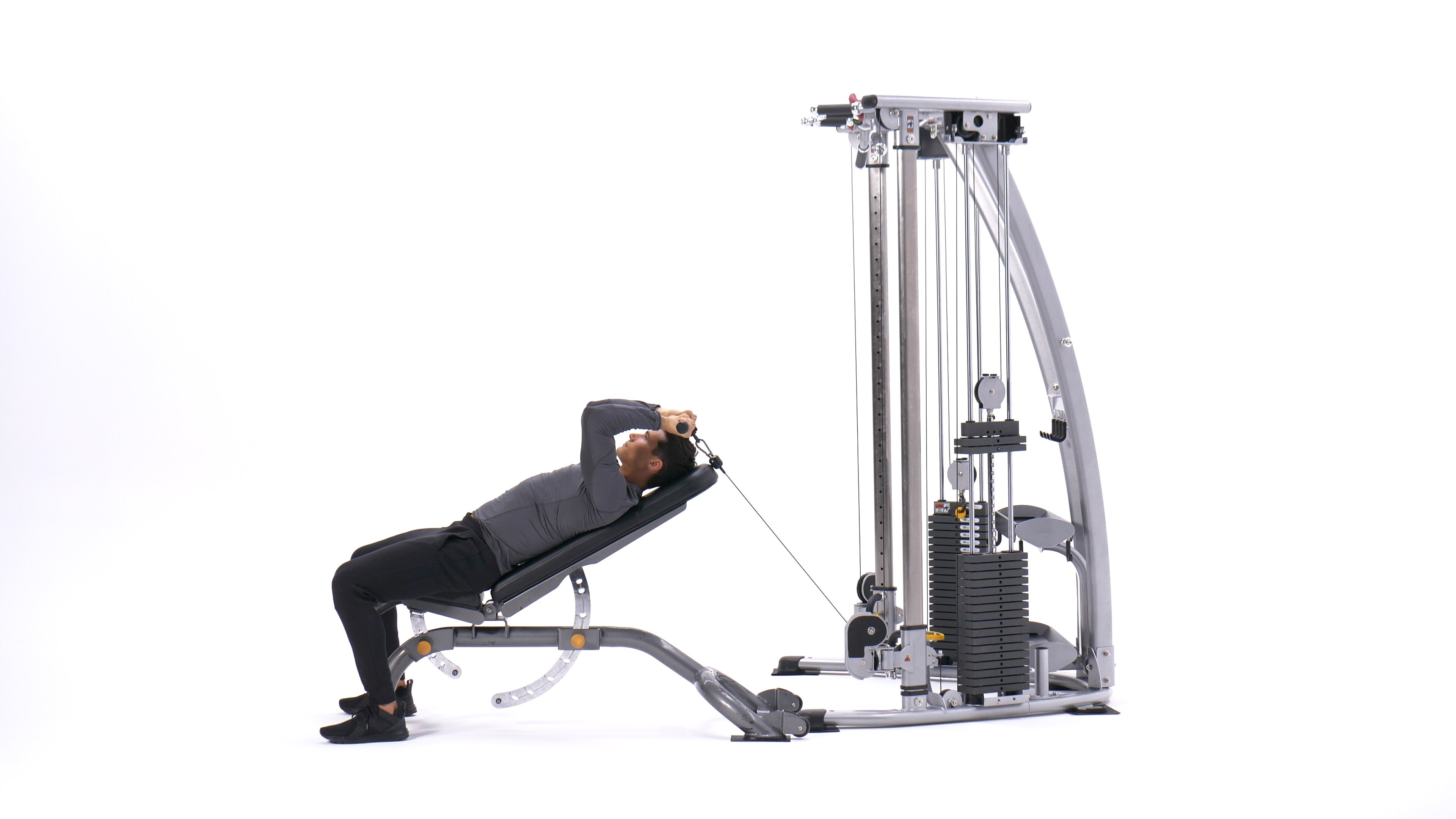 Incline cable straight-bar triceps extension image
