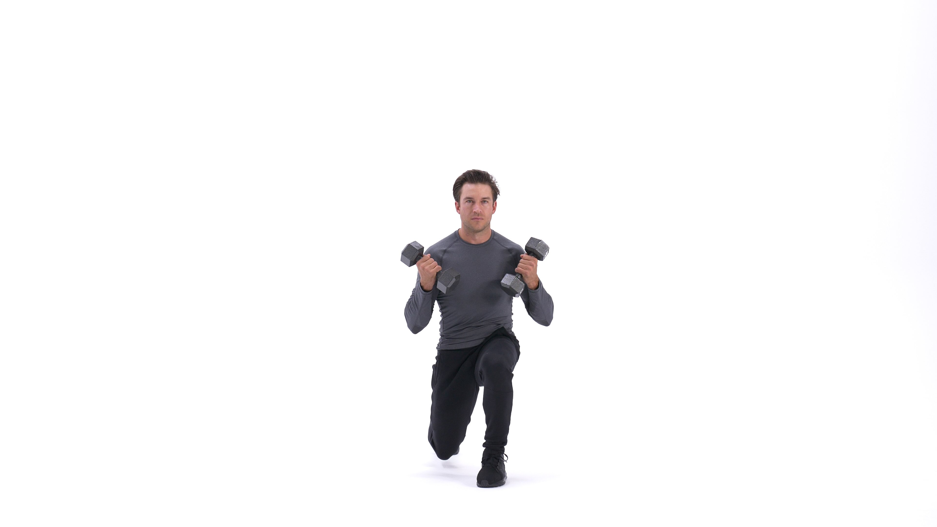 Dumbbell lunge with biceps curl image