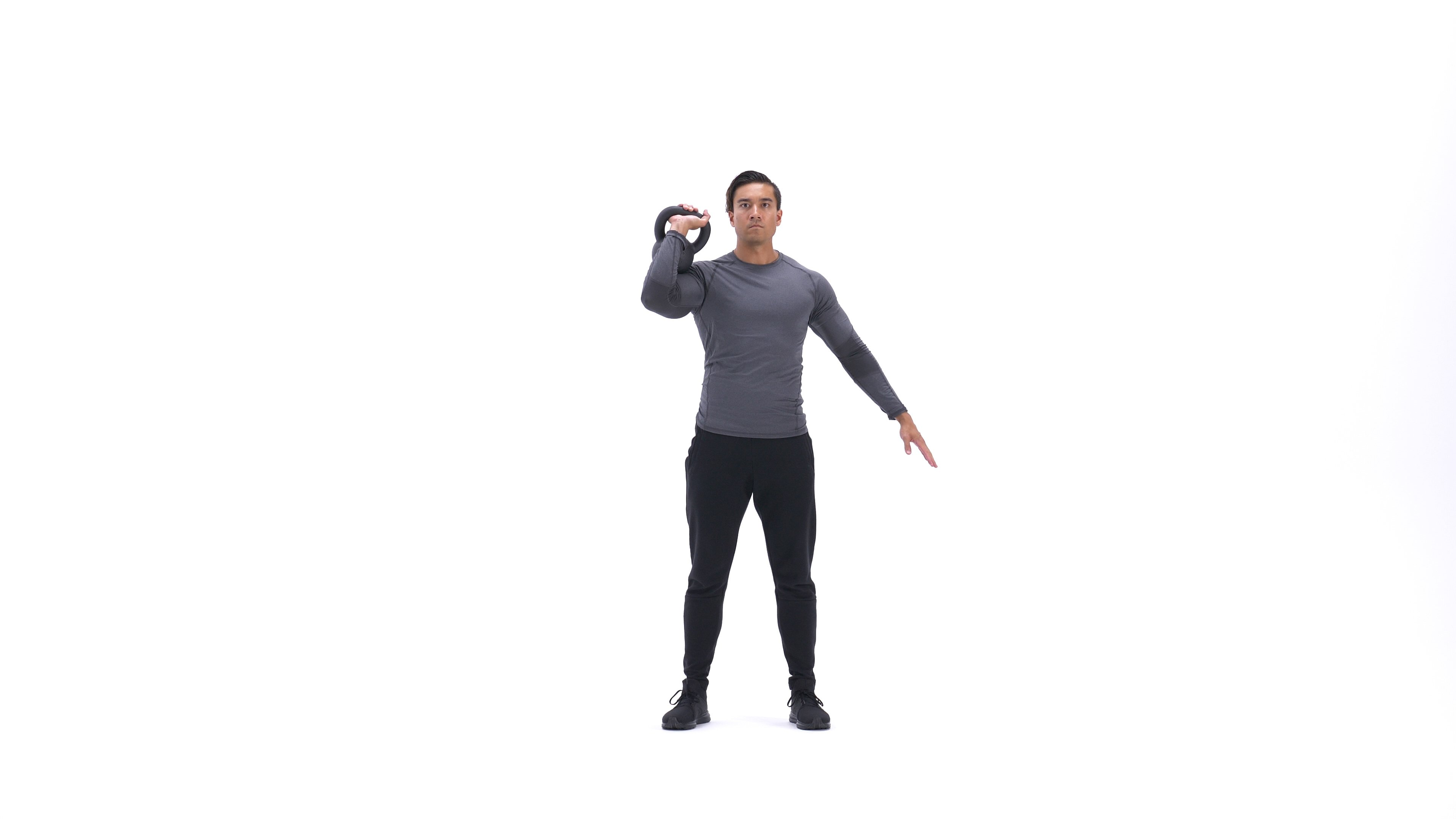 Single-arm kettlebell clean and jerk image