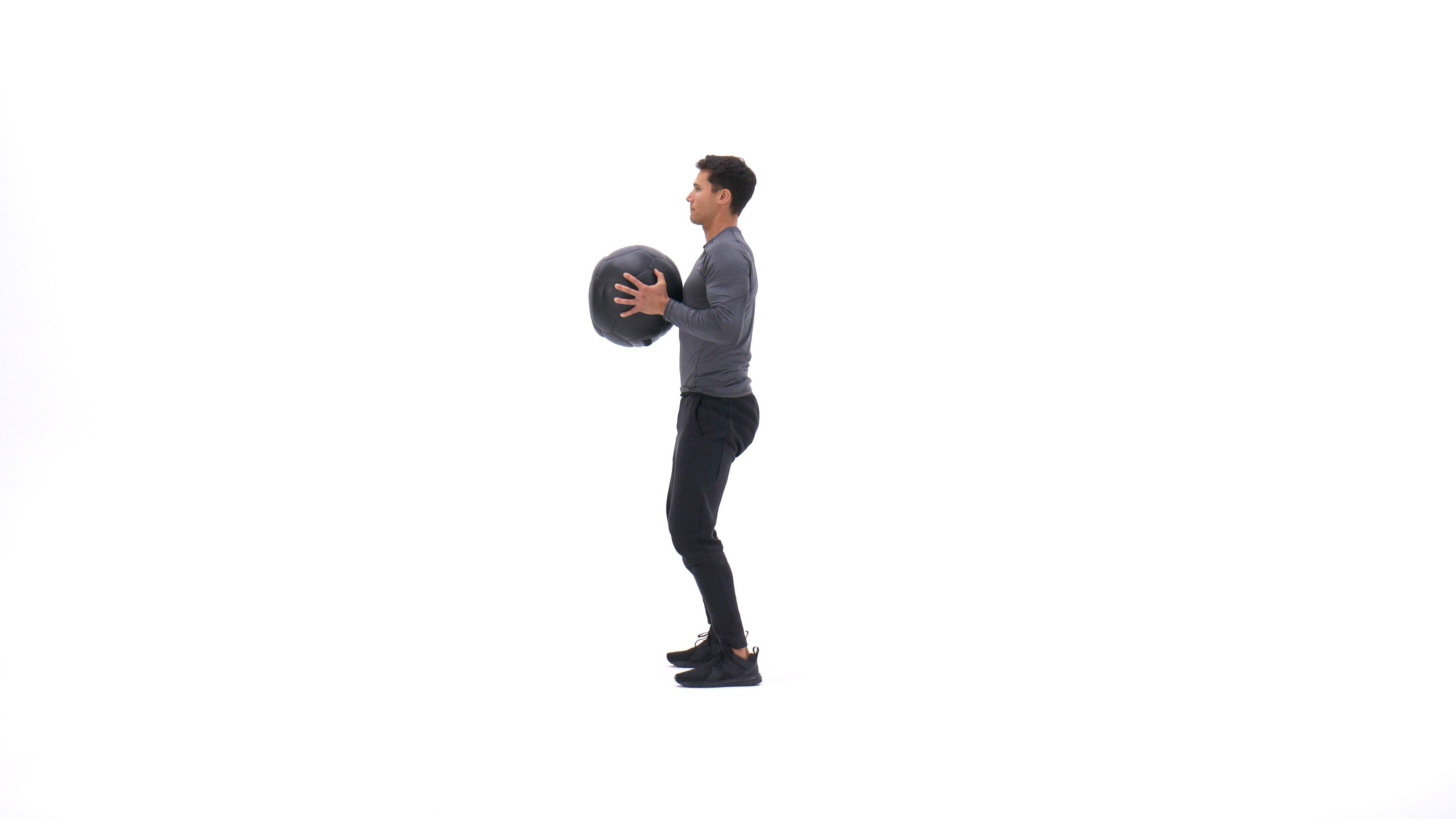Medicine ball sprawl to chest press image