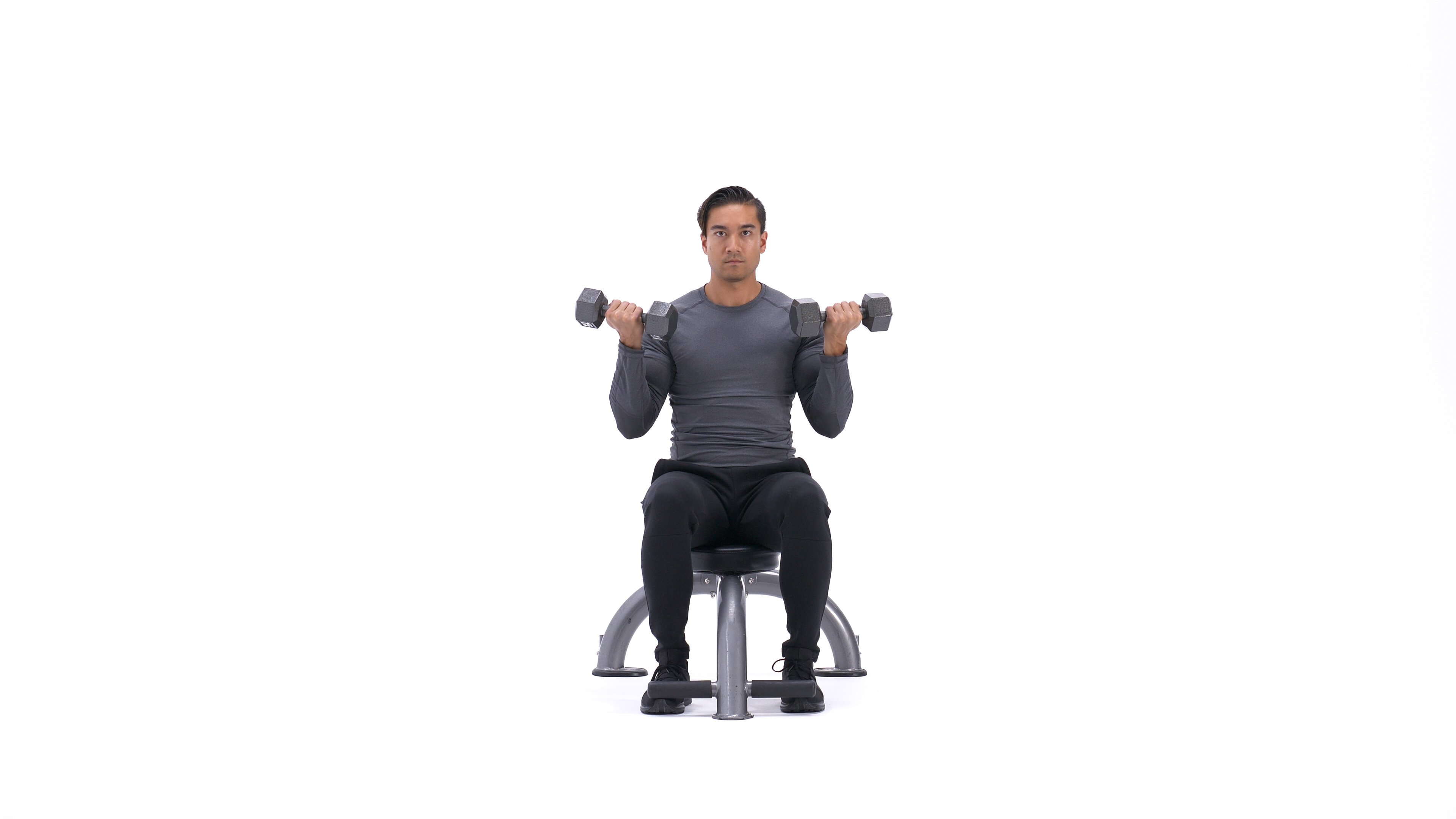 Seated wide-grip curl to close-grip curl image