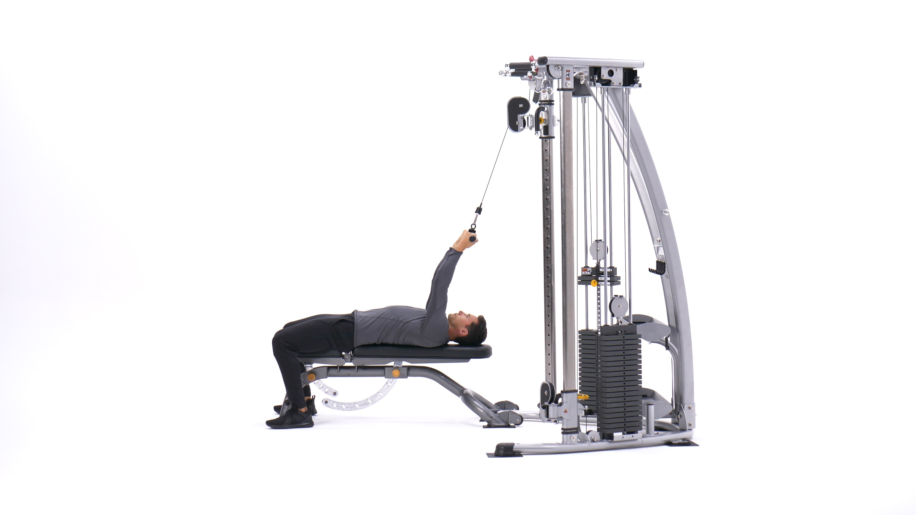 Lying Close-Grip Bar Curl On High Pulley image
