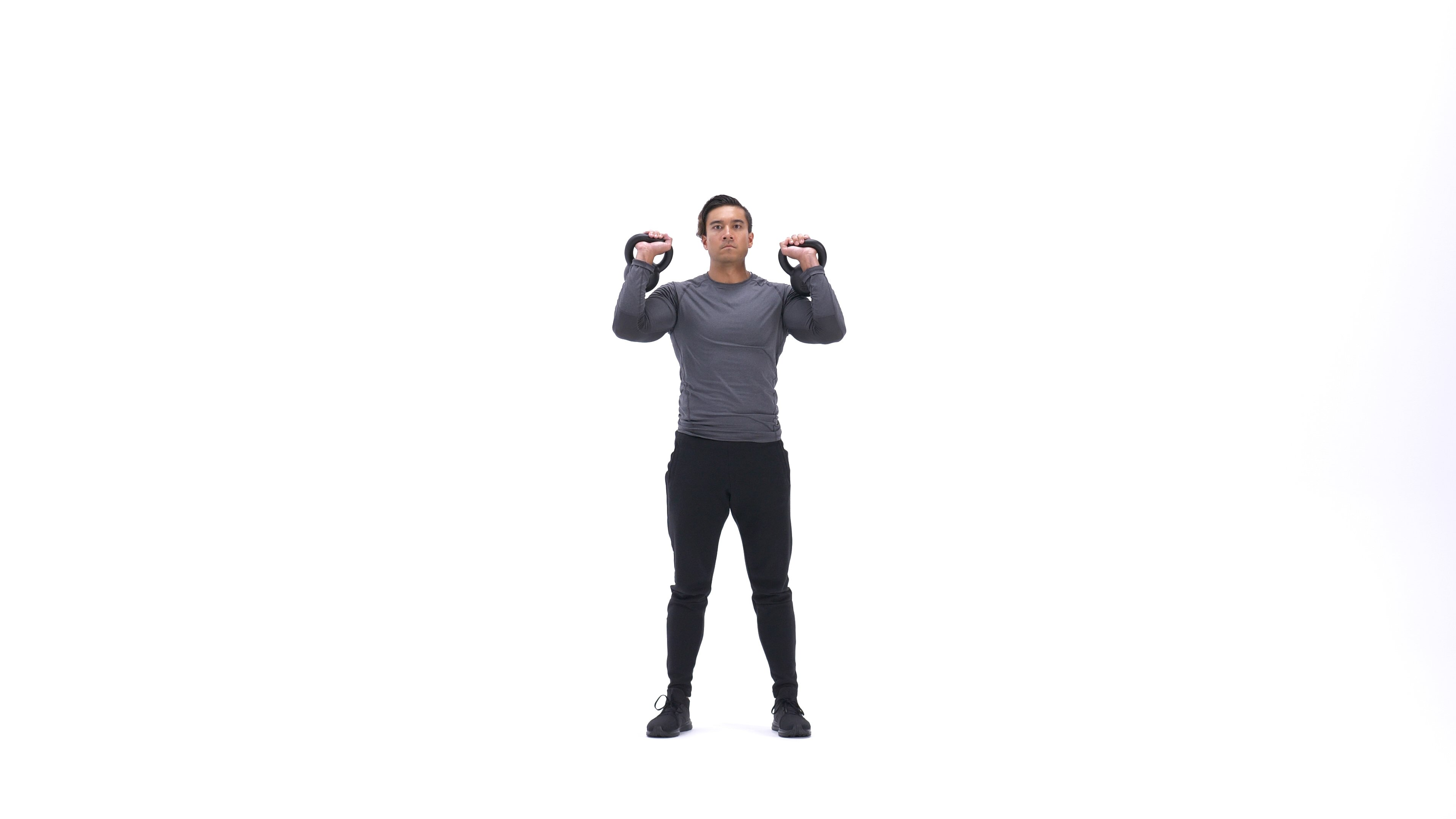 Double Kettlebell Push Press image