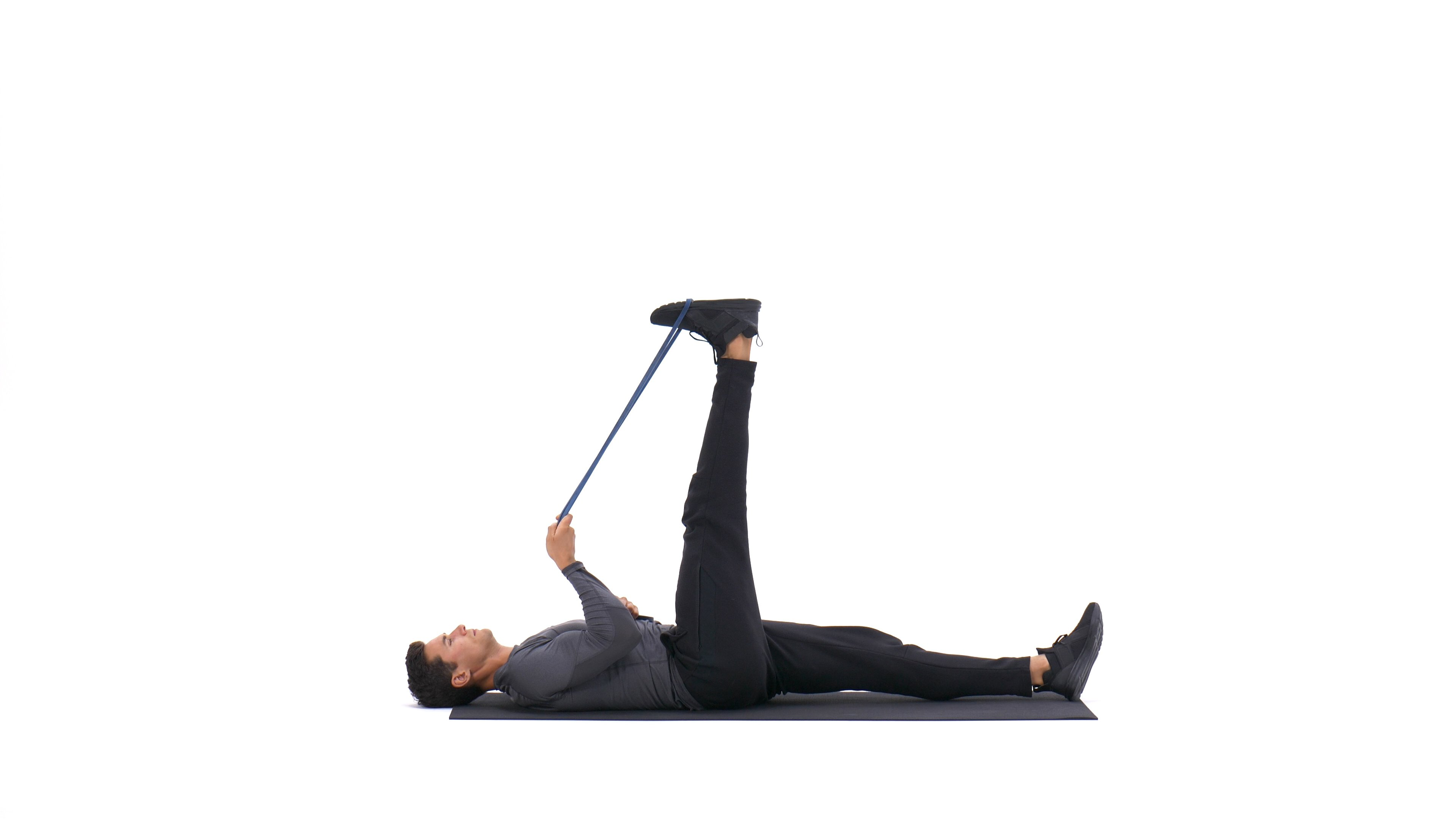 Lying hamstring stretch with band image