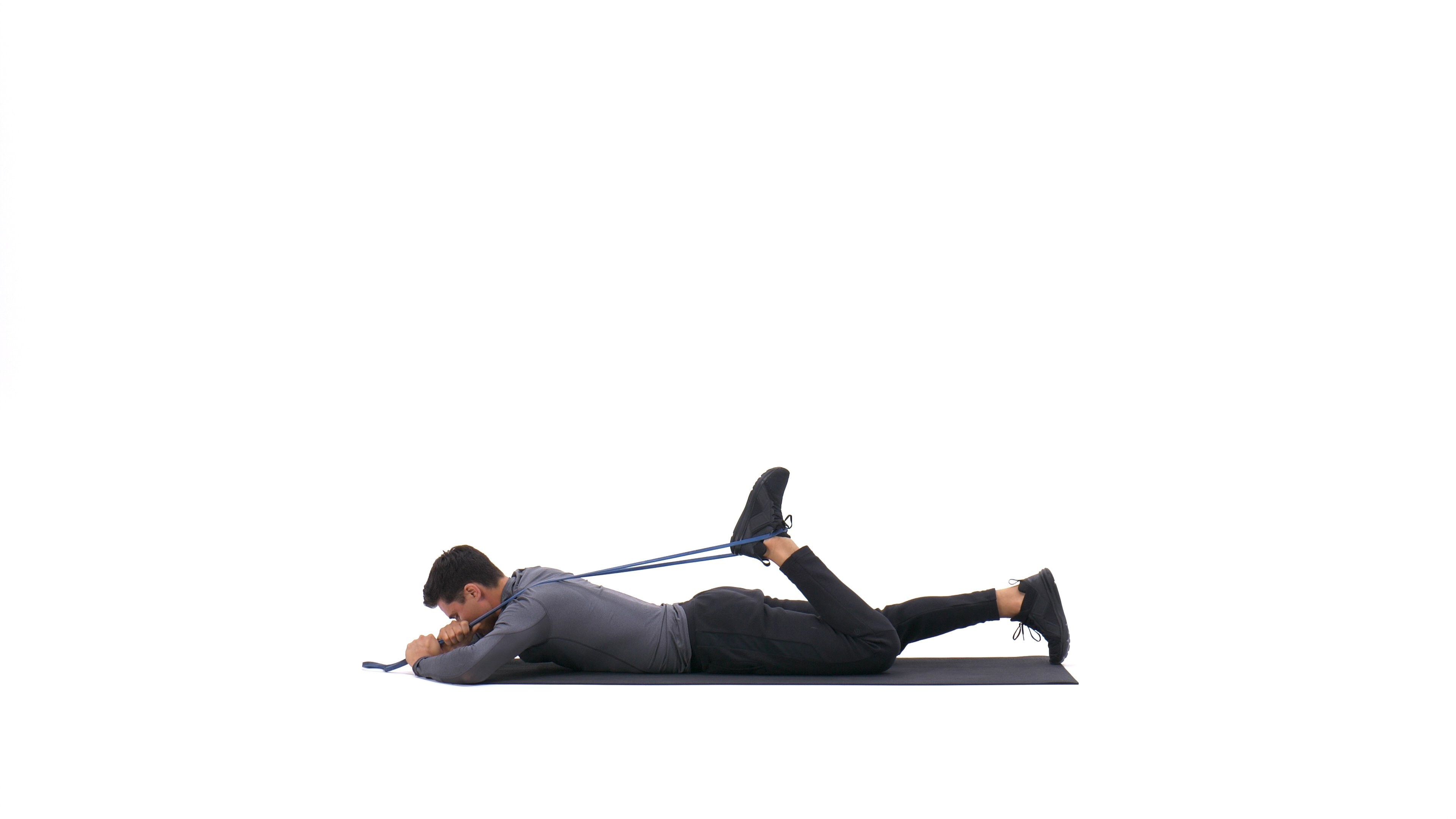 Lying quad stretch with band image