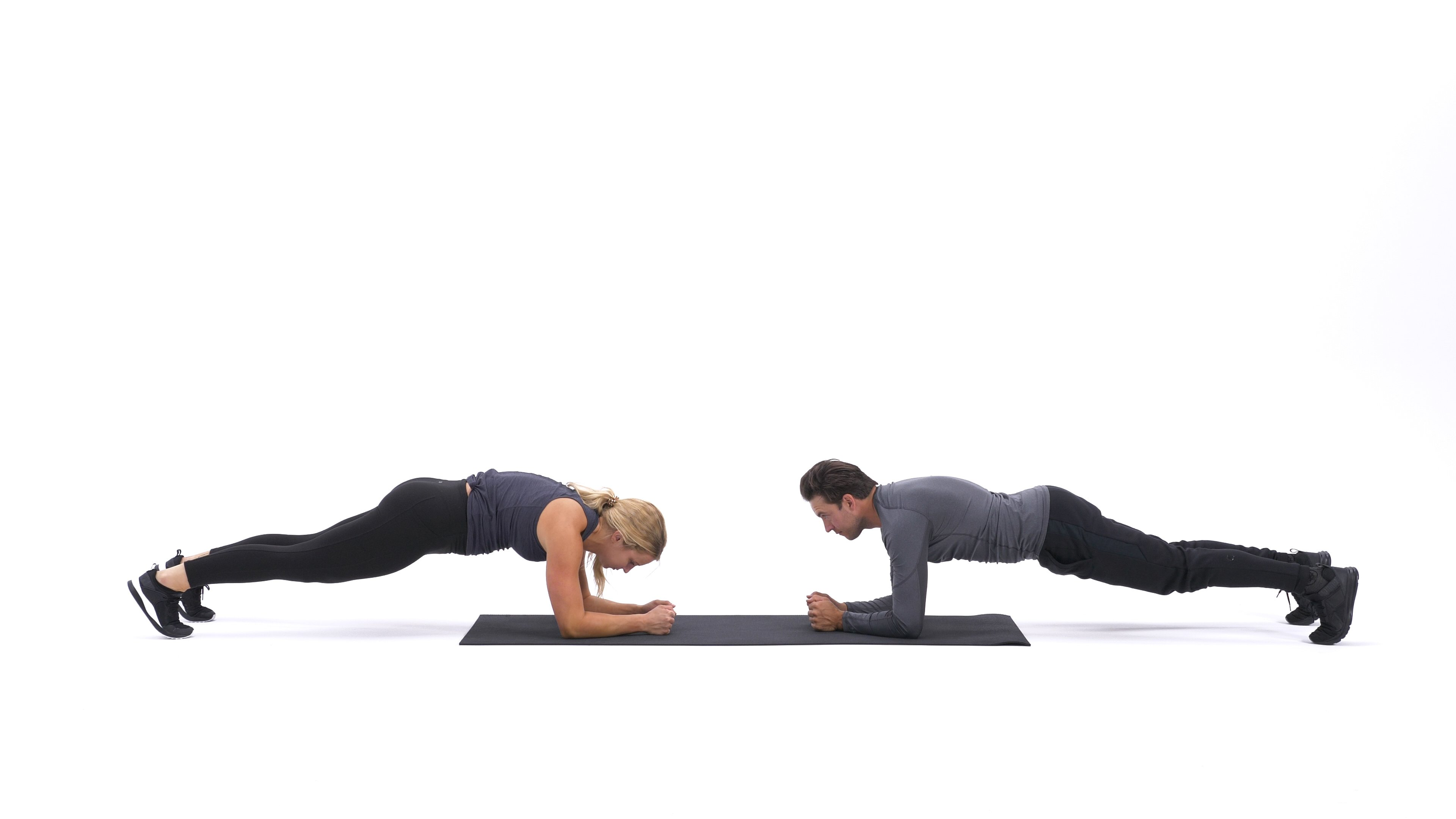 Partner Facing Planks With Alternating High-Five image