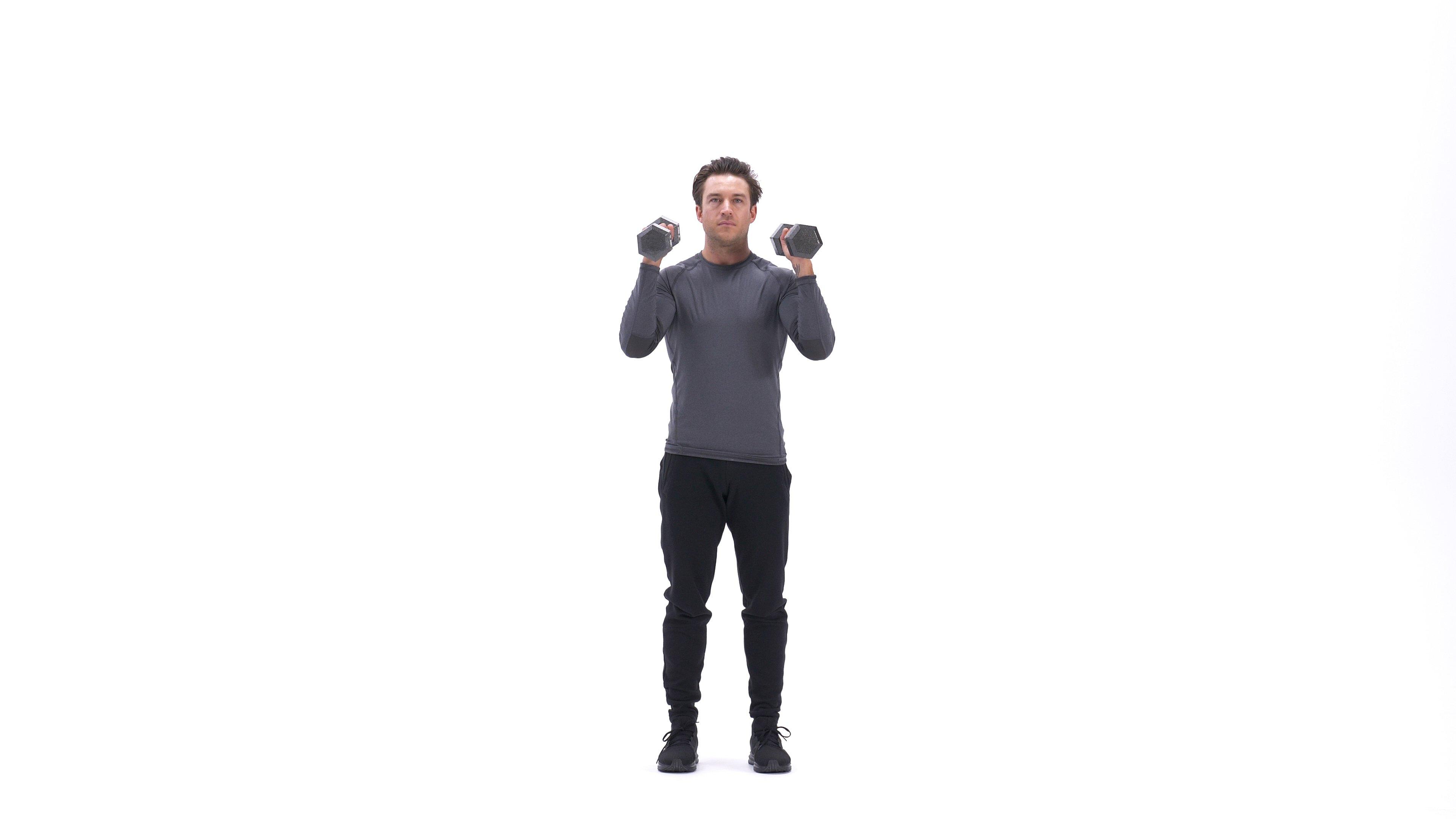 Standing palms-in shoulder press image