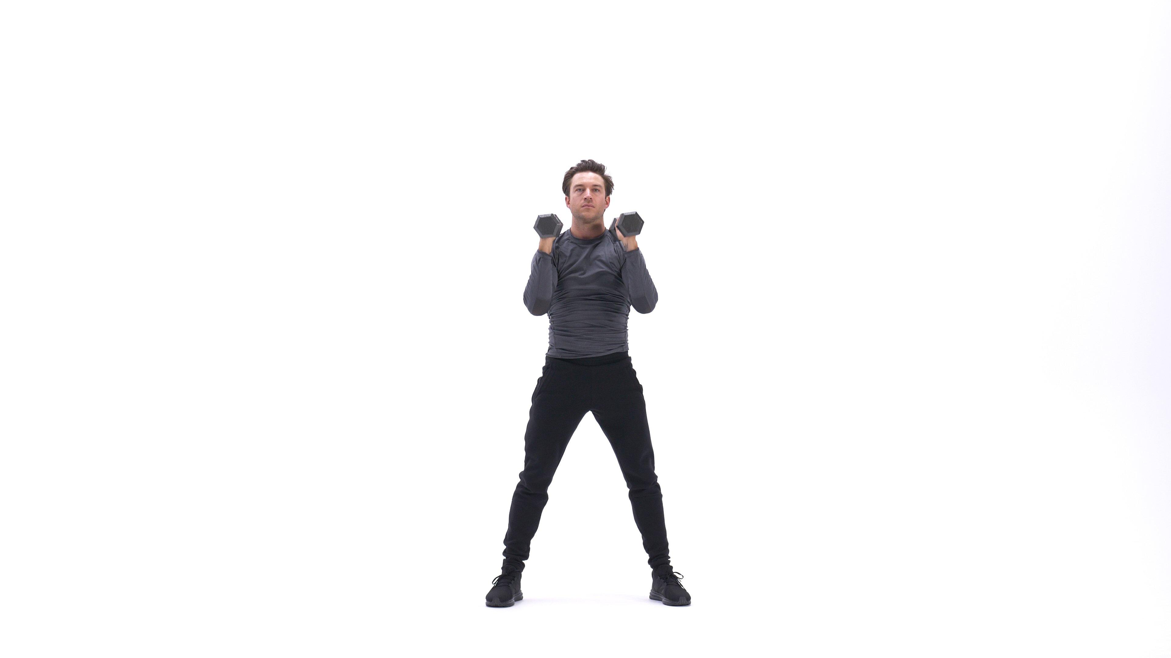 Dumbbell Squat To Shoulder Press image