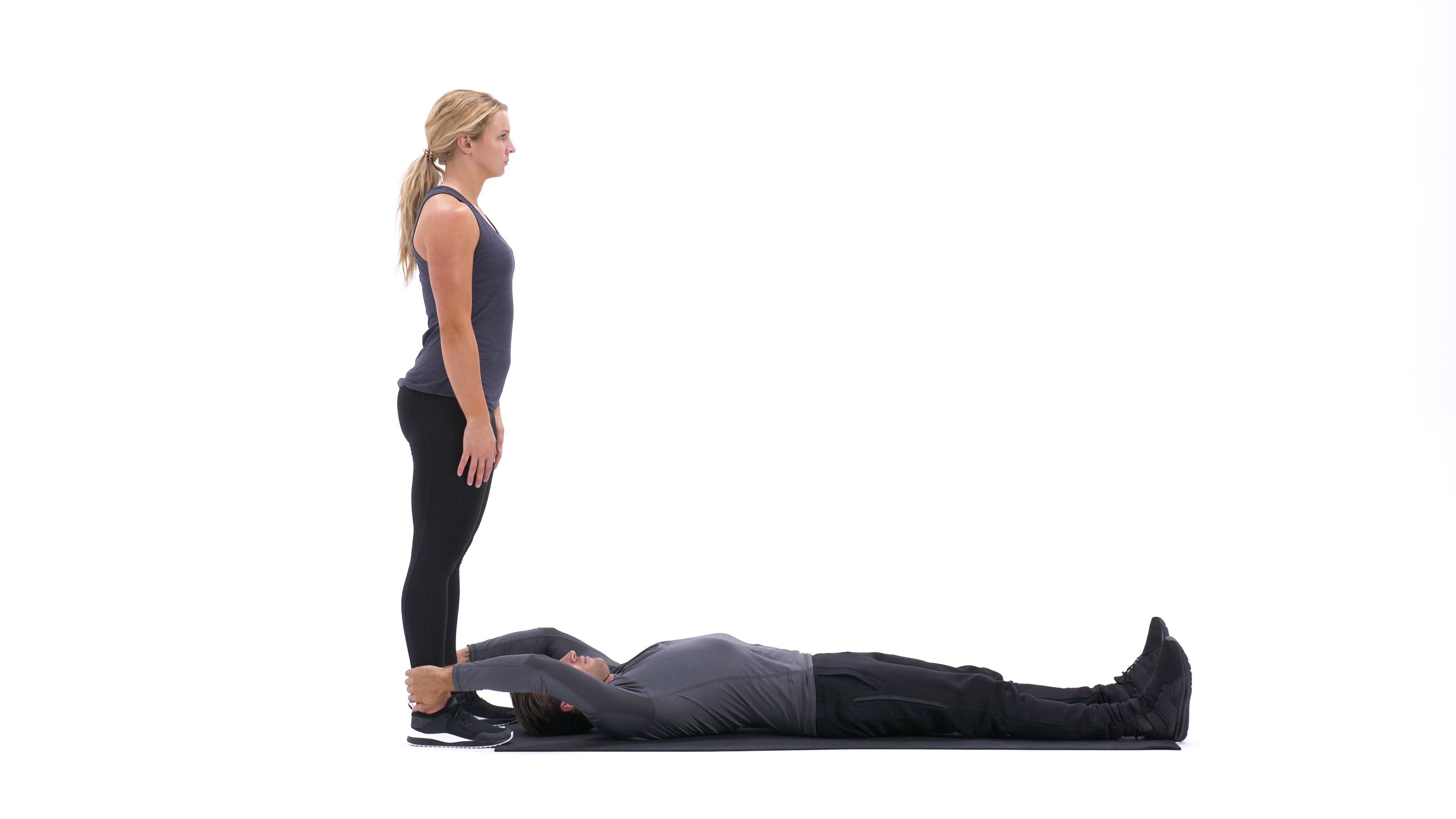 Partner Lying Leg Raise With Throw Down image
