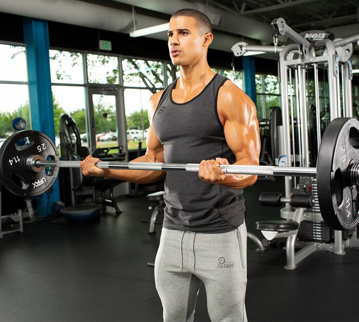 Performing a barbell bicep curl