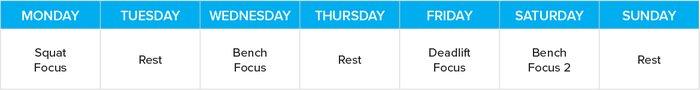 Training schedule infographic