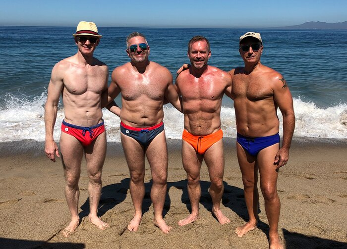 Wes Logue with friends at the beach.