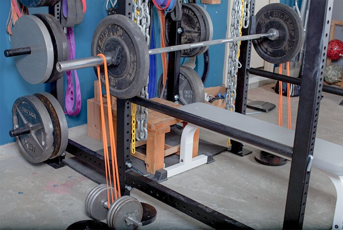 home gym set-up with bands