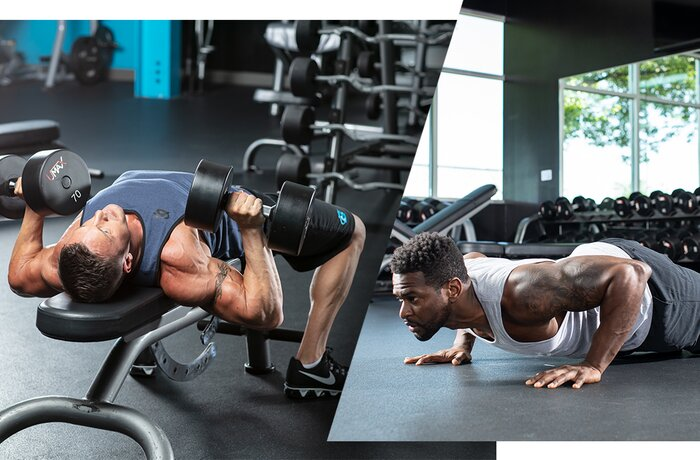 Compound set: dumbbell bench press and push-ups.