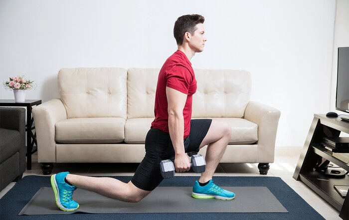 Dumbbell lunge jump