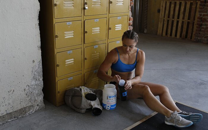 Mixing a protein shake.