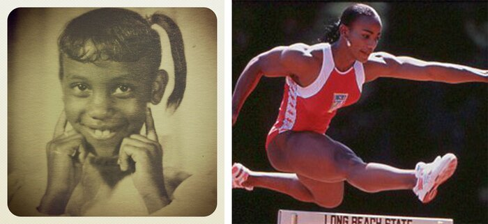 Lenda Murray as a child and competing in track.