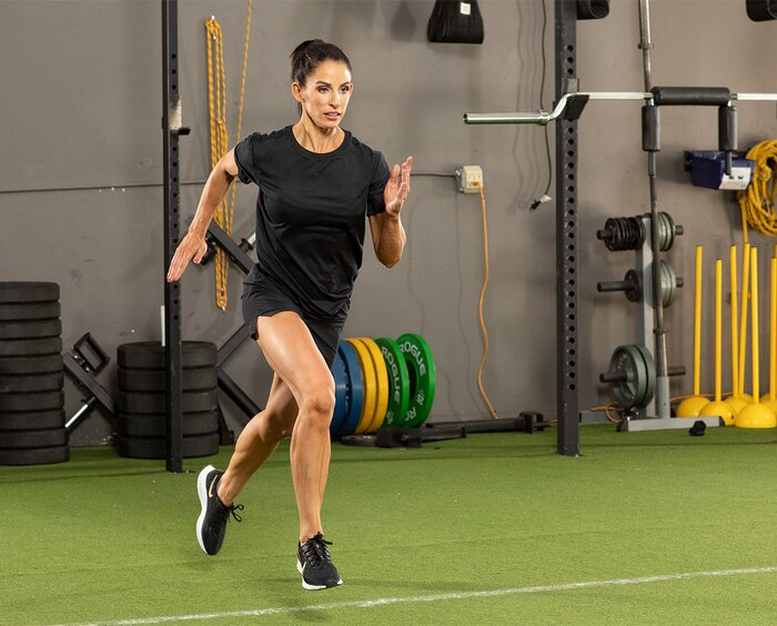 Sprinting in the gym, cardio exercise