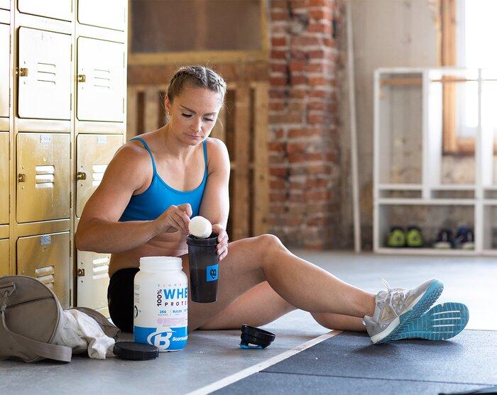 Preparing a protein shake post workout