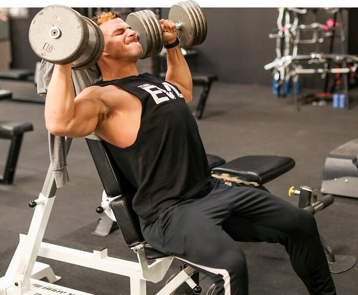 Jeremy Dutra, Seated Dumbbell Press