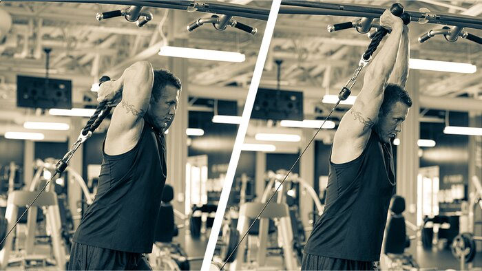 Low cable overhead triceps extension