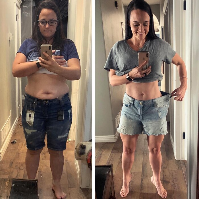 Ashley Moore showing before and after weight loss in mirror