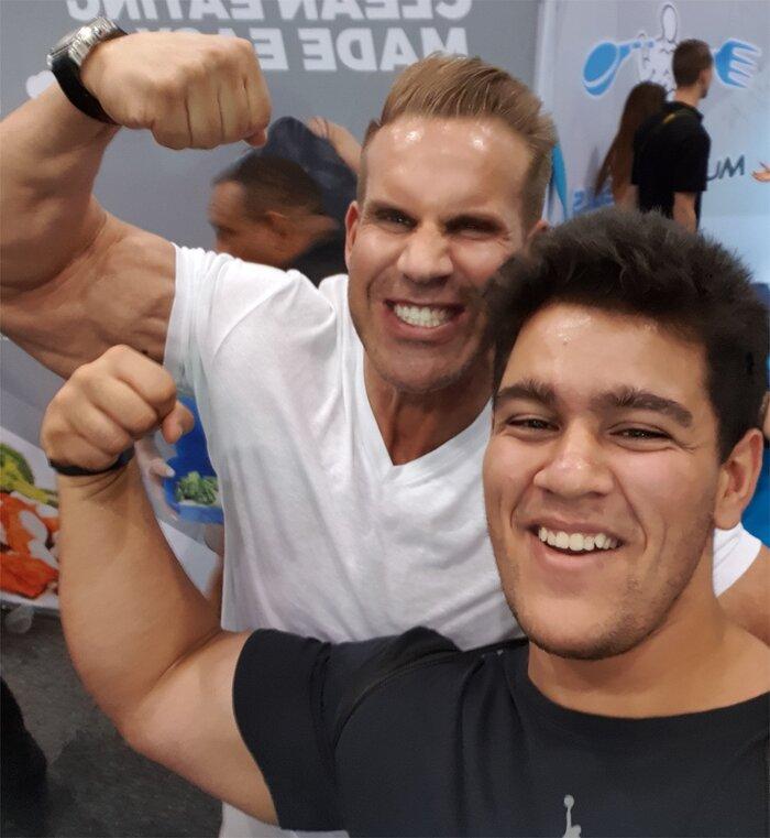 Ajay Sharma with bodybuilder Jay Cutler