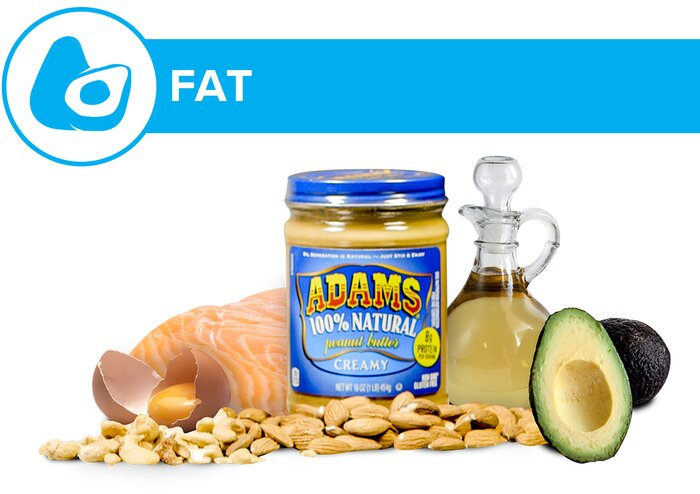 Fats: peanut butter, eggs, fish, nuts, avocado, and oils