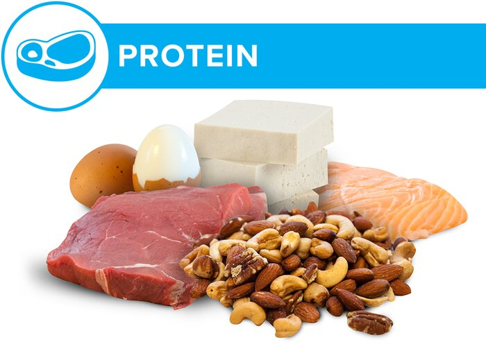 Protein: beef, fish, eggs, tofu, and nuts