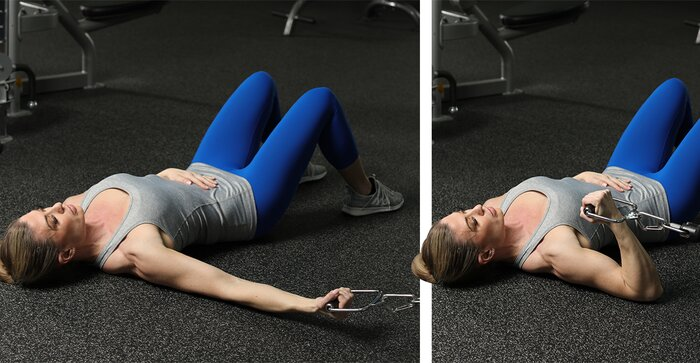 Supine One-arm Low-cable Biceps Isolation Curl