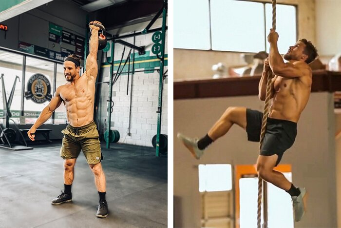 Mitch Wagner training with kettlebells and rope climbing