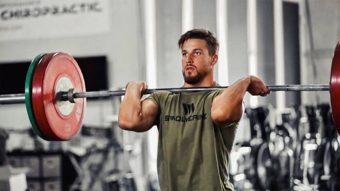 Mitch Wagner lifting a heavy barbell