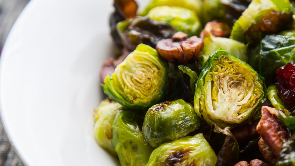 Roasted Brussels Sprouts with Cranberries and Pecans