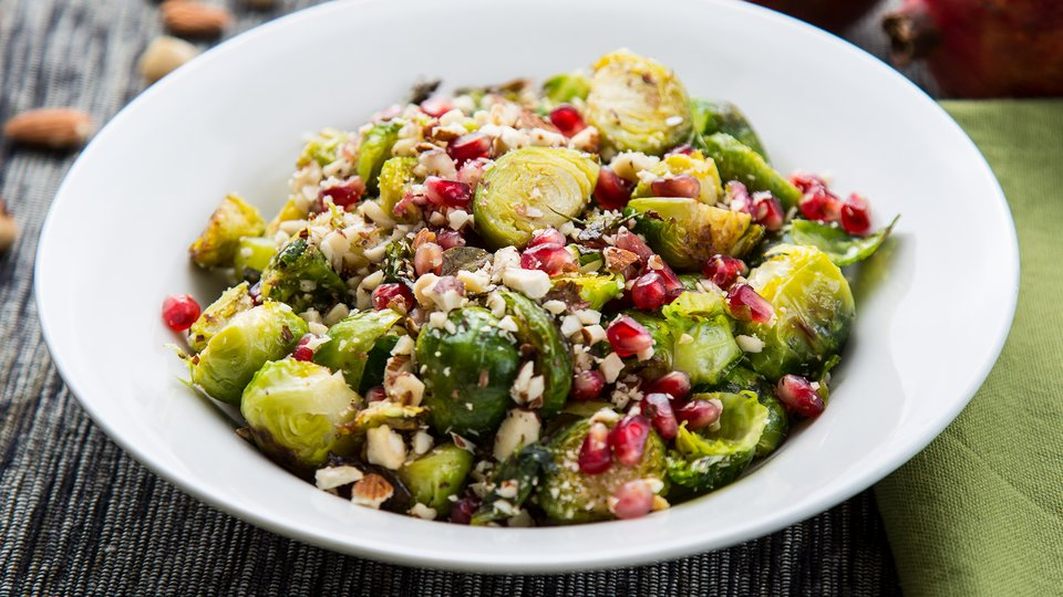 Roasted Brussels Sprouts with Pomegranate and Nuts