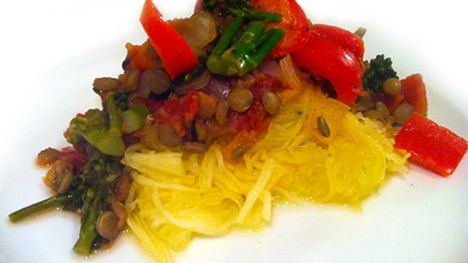 Lentil Marinara Spaghetti Squash