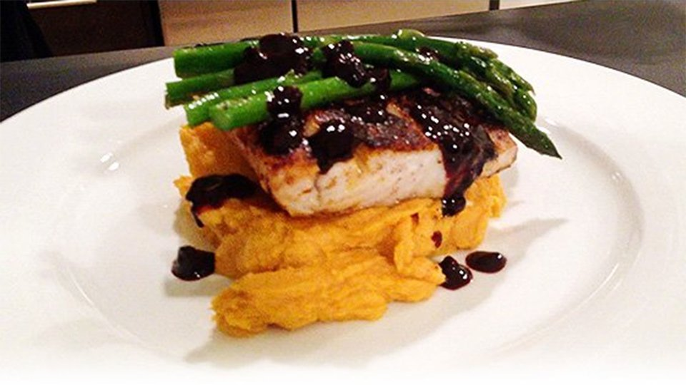 Caribbean Spiced Tilapia With Sweet Potato Puree, Coconut Asparagus And Blackberry Balsamic Glaze