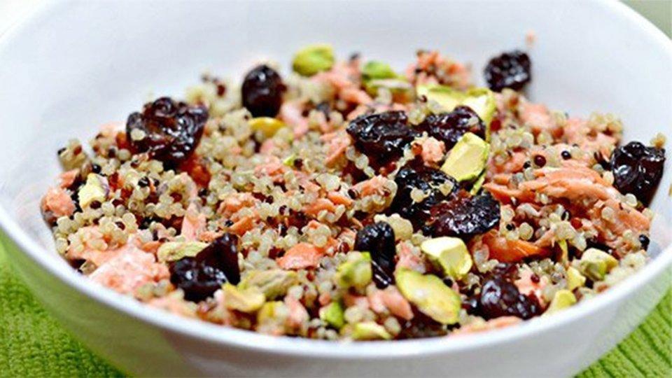 Cherry, Pistachio, And Salmon Quinoa Salad