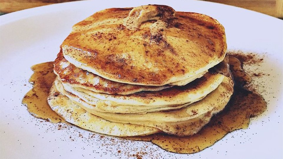 Chocolate Chunk Peanut Butter Protein Pancakes
