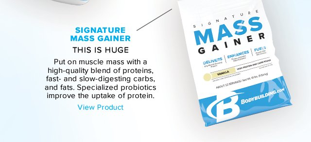 Introducing Bodybuilding.com Mass Gainer - Shop Now.