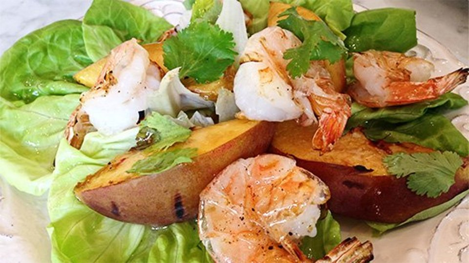 Grilled Prawn And Peach Butter Leaf Salad