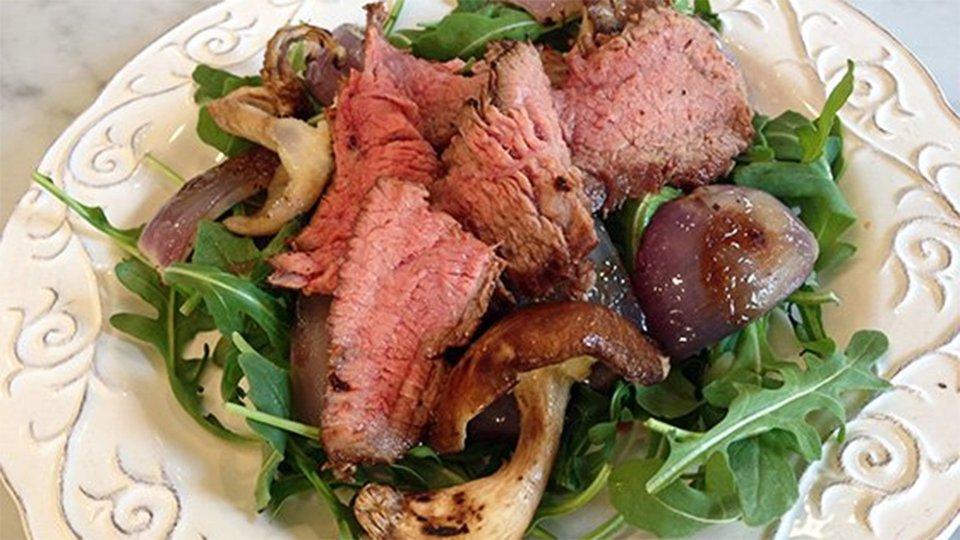 Grilled Steak, Onion, And Mushroom Arugula Salad