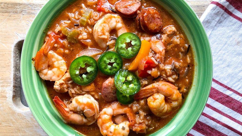 Healthy Shrimp & Sausage Jambalaya