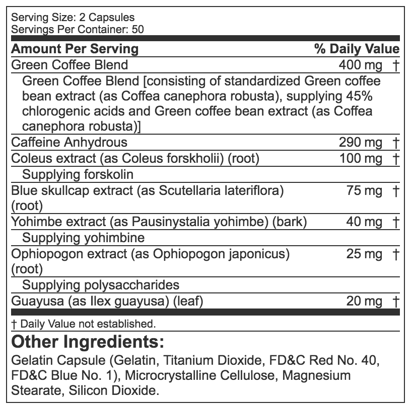 Hydroxycut 100 Capsules Ingredient Label