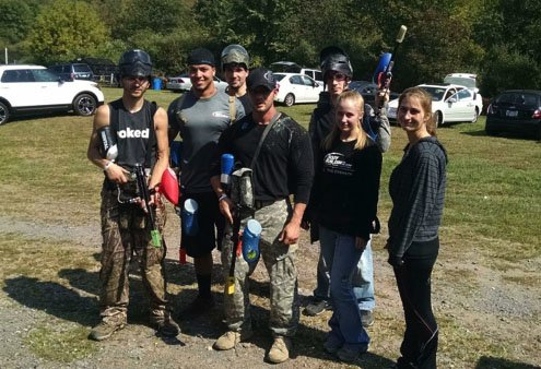 Paintball team building event, left to right: Chris Reinert, Erik Lewis, Cody Clark, Robert Shields, Steven Mace, Ashleigh Turpin, Whitney Tyson