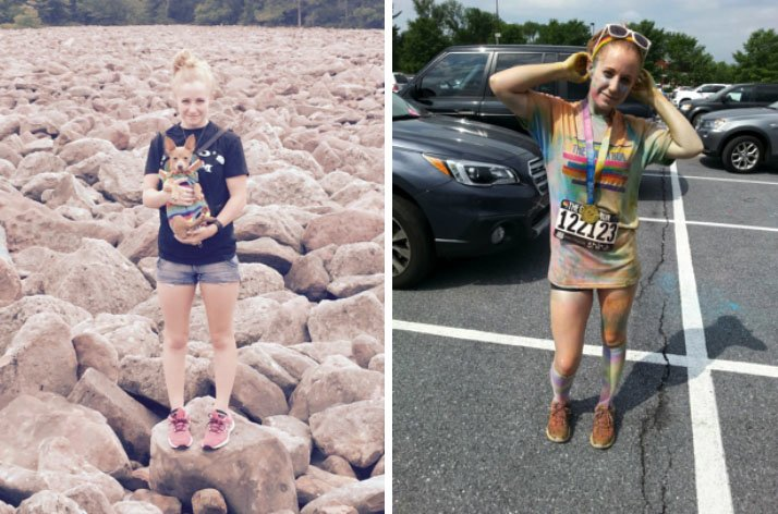 Ashleigh hiking at Hickory Run State Park and participating in the 2015 Color Run in Hershey, PA.
