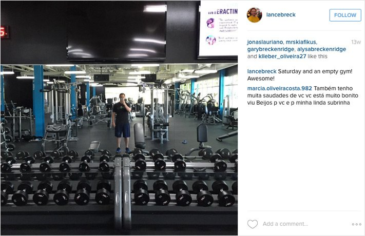 Lance working out at Bodybuilding.com's gym.