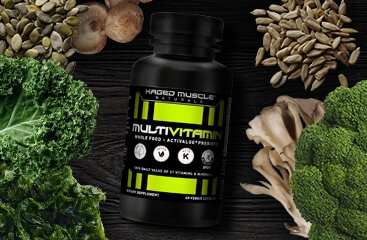 Kaged Multivitamins - Shown next to vegetables and fruit