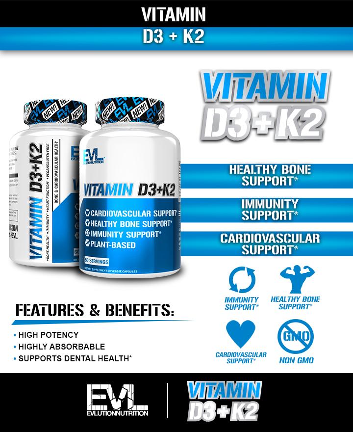 EVLution Nutrition Vitamin D3+K2 content image